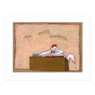 Cartão Postal Dia do imposto - a galinha do contador numera a