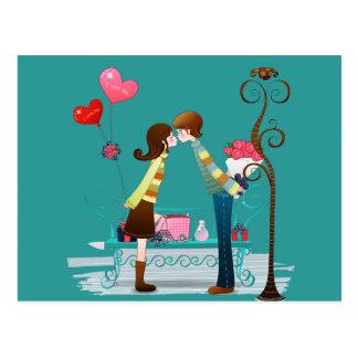 Cartão Postal Dia dos namorados de beijo do namorado & do