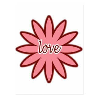 Cartão Postal Dia dos namorados do design da flor do amor