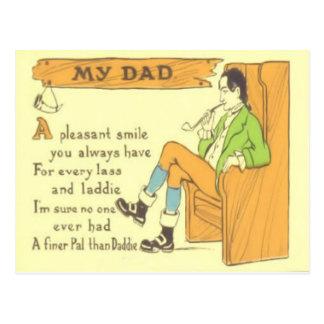 Cartão Postal Dia dos pais do vintage da tubulação da cadeira do