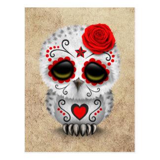Cartão Postal Dia vermelho bonito da coruja inoperante do crânio