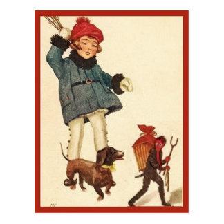 Cartão Postal Diabo da perseguição da menina e do Dachshund do