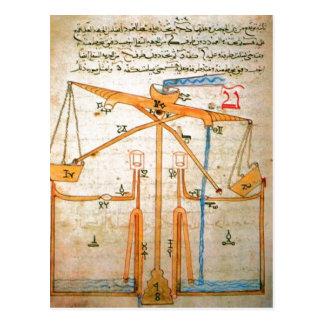 Cartão Postal Diagrama sumário do livro pelo al-Jazari, 7o centu