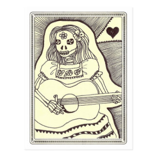 Cartão Postal Diâmetro de Los Muertos Menina com guitarra