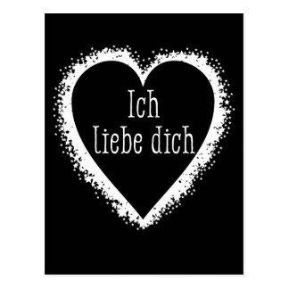 Cartão Postal Dich do liebe de Ich, eu te amo em preto alemão &