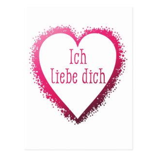 Cartão Postal Dich do liebe de Ich, eu te amo no alemão no rosa
