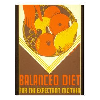 Cartão Postal Dieta equilibrada New York 1936 - 39 do poster de