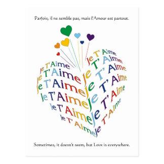 """Cartão Postal Diga, """"eu te amo"""" em francês/cartão"""