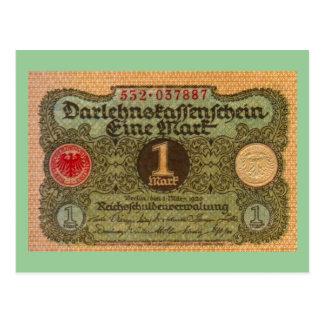 Cartão Postal Dinheiro velho: 1 marco alemão