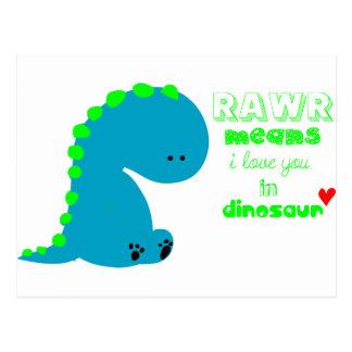 Cartão Postal Dinossauro bonito RAWR