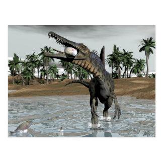 Cartão Postal Dinossauro de Spinosaurus que come peixes - 3D