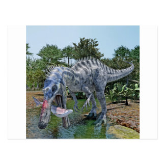 Cartão Postal Dinossauro de Suchomimus que come um tubarão em um