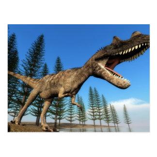 Cartão Postal Dinossauro do Ceratosaurus na linha costeira - 3D