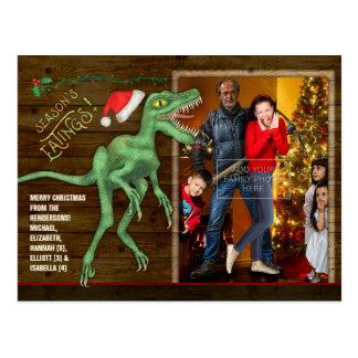 Cartão Postal Dinossauro engraçado do Velociraptor da foto de