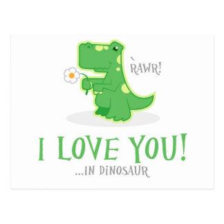 Cartão Postal Dinossauro Loving