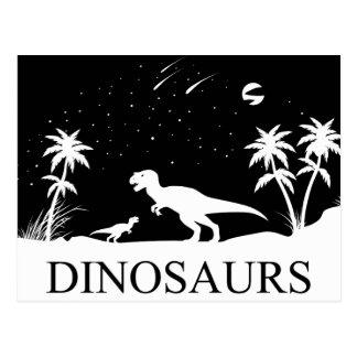 Cartão Postal Dinossauro sob as estrelas