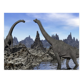Cartão Postal Dinossauros do Brachiosaurus - 3D rendem