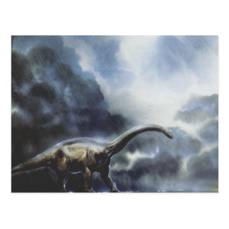 Cartão Postal Dinossauros do vintage, Barapasaurus com nuvens de
