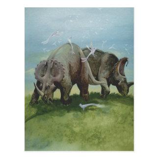 Cartão Postal Dinossauros do vintage, Centrosaurus que pasta no