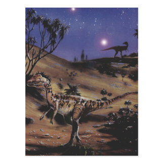 Cartão Postal Dinossauros do vintage, Dilophosaurus em uma noite