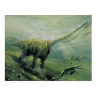 Cartão Postal Dinossauros do vintage, natação do Brachiosaurus