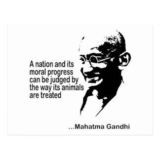 Cartão Postal Direitos dos animais de Mahatma Gandhi