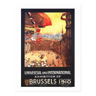 Cartão Postal Dirigível de Lebaudy com as bandeiras do mundo na