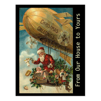 Cartão Postal Dirigível do Natal do papai noel do vintage -