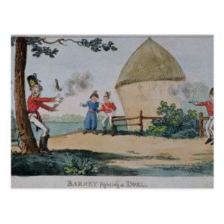 Cartão Postal Discussão que luta um duelo