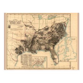 Cartão Postal Distribuição dos escravos no mapa 1860 dos estados