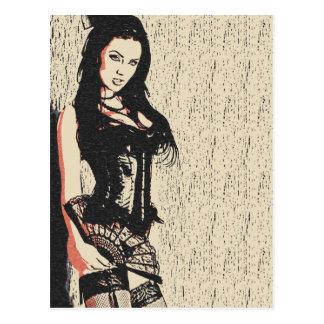 Cartão Postal Diva triguenha perfeita na lingerie de sedução,
