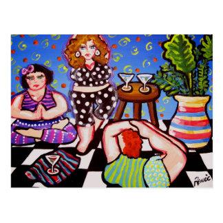 Cartão Postal Divas da ioga com Martinis