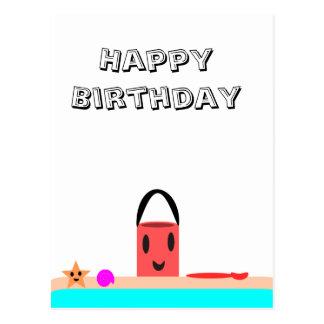 Cartão Postal Divertimento da praia do feliz aniversario