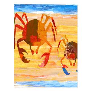 Cartão Postal Divertimento do tempo da praia com patrulha do