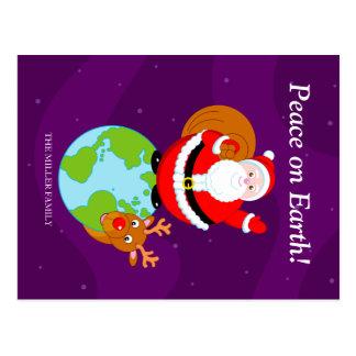 Cartão Postal Divertimento Papai Noel & desenhos animados na