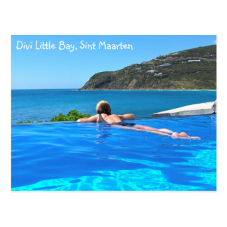 Cartão Postal Divi pouca piscina da infinidade da baía, Sint
