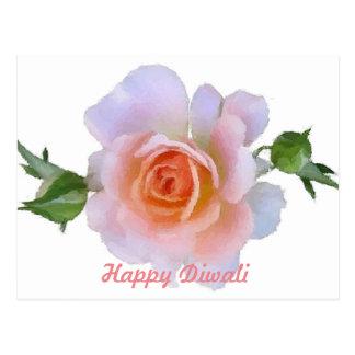 Cartão Postal Diwali feliz, rosa do rosa, arte floral do pincel