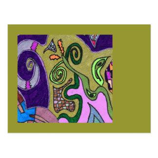 """Cartão Postal Do """"abstrato do original do elefante ouro"""""""