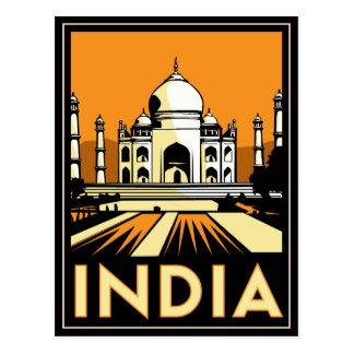 Cartão Postal do art deco mahal de india do taj poster retro