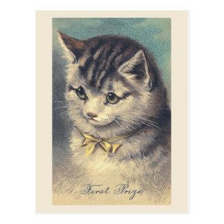 """Cartão Postal Do """"cartão do retrato do gato do vintage primeiro"""