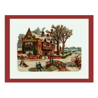 """Cartão Postal Do """"cartão do vintage da cena Natal"""""""
