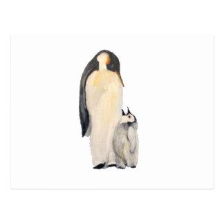 """Cartão Postal Do """"cartão horizontal do pinguim pai e do filho"""""""