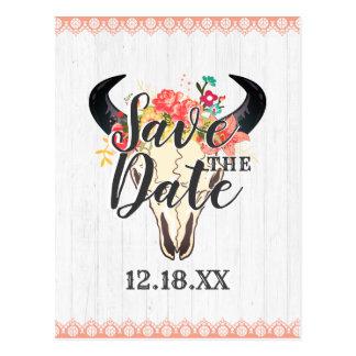 Cartão Postal Do crânio chique da vaca de Boho os buquês florais