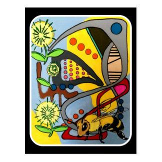 """Cartão Postal Do """"da abelha abstrata do jardim da modificação"""