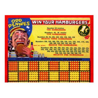 Cartão Postal Do Hamburger retro do kitsch do vintage perfurador