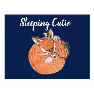 """Cartão Postal Do """"ilustração do Fox sono Cutie"""" -"""