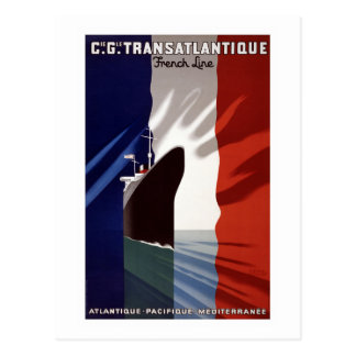 """Cartão Postal Do """"linha de C.G. Transatlantique Envio do francês"""