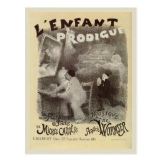 Cartão Postal Do mime Prodigal do filho do vintage desenho preto
