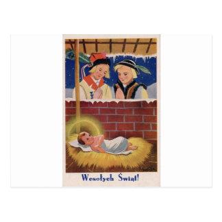Cartão Postal Do Natal polonês de Wesołyeh Świąt do vintage arte