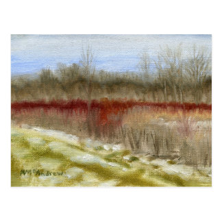 """Cartão Postal Do """"paisagem do óleo do esboço do campo inverno"""""""